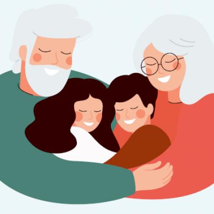 Illustratie grootouders die kleinkinderen in de armen nemen